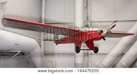 Le Bourget Paris France- May 042017: Farman 455 Super Moustique (1935) in the Museum of Astronautics and Aviation Le Bourget
