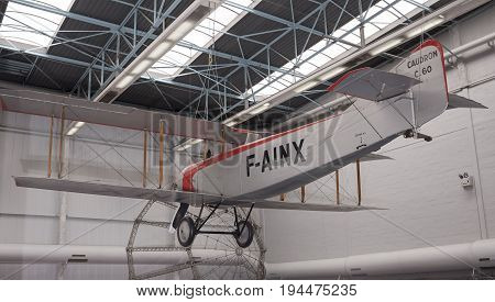 Le Bourget Paris France- May 042017: Caudron C.60 (1921) in the Museum of Astronautics and Aviation Le Bourget