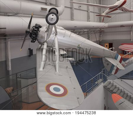 Le Bourget Paris France- May 042017: Morane-Saulnier in the Museum of Astronautics and Aviation Le Bourget