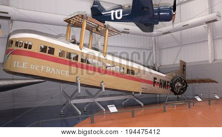 Le Bourget; Paris; France- May 04; 2017: Farman F.60 Goliath (1918) in the Museum of Astronautics and Aviation Le Bourget