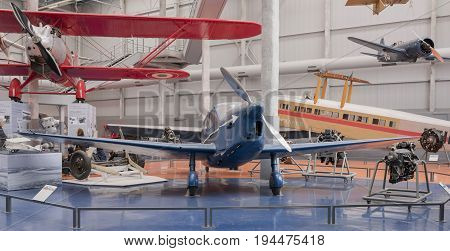 Le Bourget Paris France- May 042017: Caudron C.635 Simoun in the Museum of Astronautics and Aviation Le Bourget