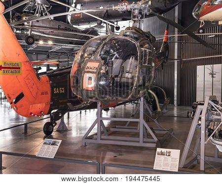 Le Bourget; Paris; France- May 04; 2017: Helicopter Aerospatiale S.A. 341F Gazelle (1967)in the Museum of Astronautics and Aviation Le Bourget