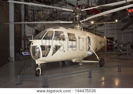 Le Bourget; Paris; France- May 04; 2017: Helicopter Breguet G 111 (1948) in the Museum of Astronautics and Aviation Le Bourget