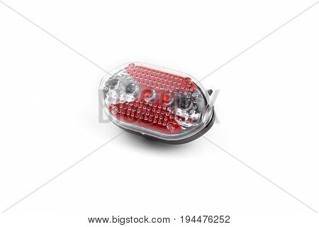 Blinker or Flashing lights are used to attach the bicycles or other vehicles placce on white background / Warning tool for accident prevention at night or Low light area / Made of plastic / not isolated background