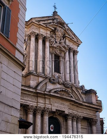 Lateral view on the facade of Saint Vincenzo and Anastasio church in Rome, autumn Italy