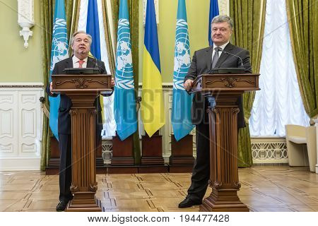 Petro Poroshenko And Un Secretary General Antonio Guterres
