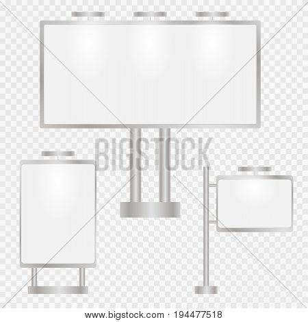 Street billboard to advertise products and special offers. Set of billboards for promoting a transparent background. Vector illustration.