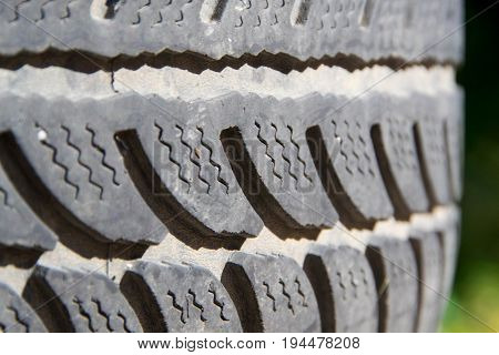Winter car tires with different patterns and depth of pattern