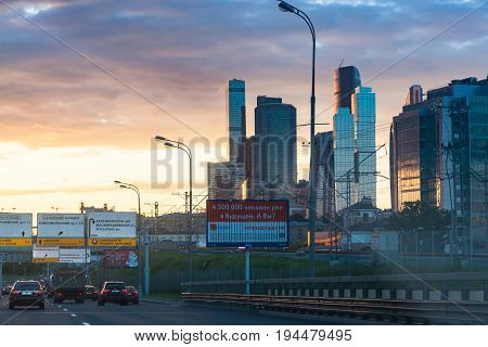 Traffic On Third Ring Road Near Moscow-city