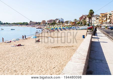 Beach And Waterfront In Giardini Naxos Town