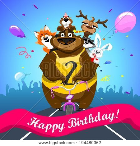 Animals on colorful background. bear on a bicycle with friends crosses the finish line. banner Happy Birthday. Shirt with number 2. vector illustration.
