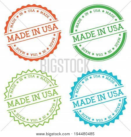 Made In Usa Badge Isolated On White Background. Flat Style Round Label With Text. Circular Emblem Ve