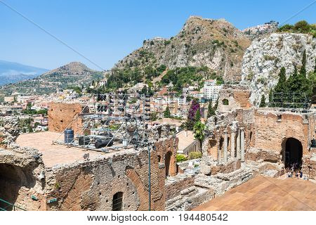 Teatro Greco And View Of Taormina City