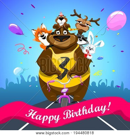 Animals on colorful background. bear on a bicycle with friends crosses the finish line. banner Happy Birthday. Shirt with number 3. vector illustration.