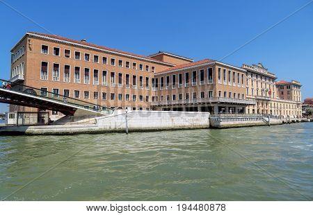 Venice Italy - June 20 2017: Architecture along Grand canal - Fondamenta Santa Lucia in Venice Italy