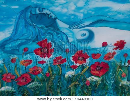 The beautiful girl sleeps in a flower of a poppy