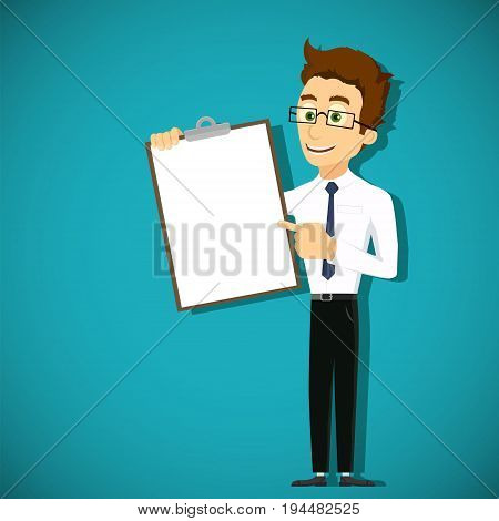 Businessman is pointing his finger at the clipboard. White blank sheet of paper for text. Stock vector cartoon illustration.