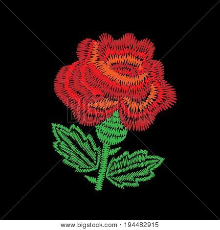Embroidery stitches imitation one big red roses. Fashion embroidery rose flower on black background. Embroidery red roses vector.