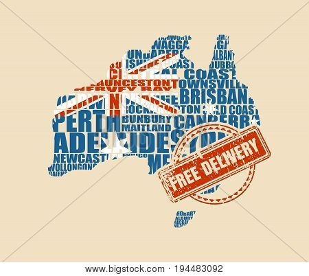 Map of Australia made from cities list. Textured by national flag. Vector illustration. Free delivery stamp