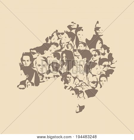 Australian map made from human portraits. Vector illustration
