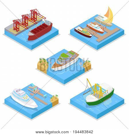 Isometric Water Transport Set with Cruise and Industrial Ship. Sailing and Shipping. Vector flat 3d illustration