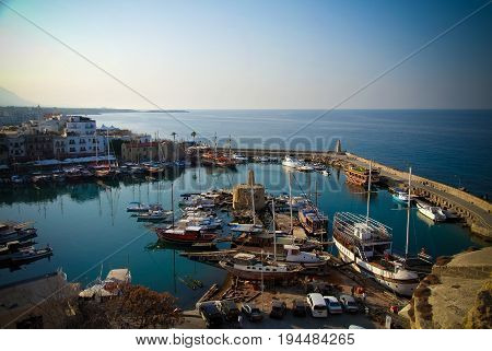 Aerial view to Girne marina at North Cyprus - 02-11-2013 Girne Cyprus