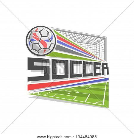 Vector logo for Soccer game, icon in shape of rhombus for football club, ball flying above sports field in goal gate with net, modern sign with soccer ball, design badge for soccer academy or school.