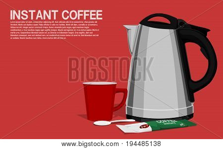 Composition of instant coffee on pink background
