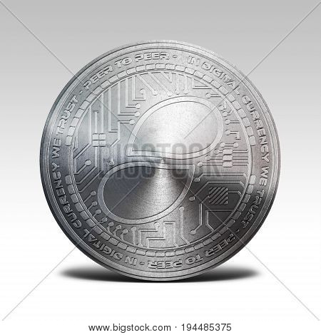 silver status coin isolated on white background 3d rendering illustration