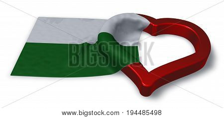 saxony flag and heart symbol - 3d rendering