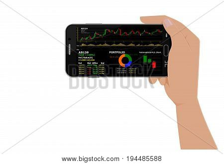 Isolated Hand hold smart phone which using stock trading application