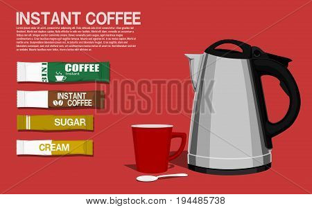 Set of instant coffee on pink background