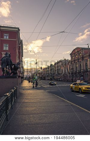 29.06.2017 ,saint Petersburg , Russia . Early Morning At Nevsky Prospect