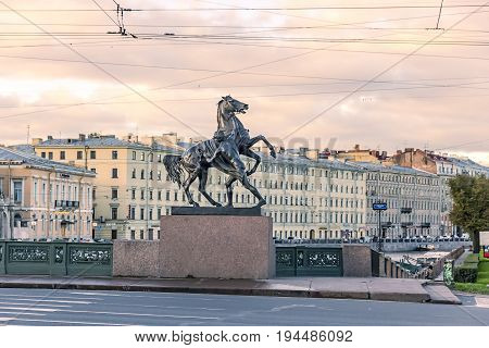 29.06.2017 ,saint Petersburg , Russia . Early Morning At Nevsky Prospect Anichkov Bridge