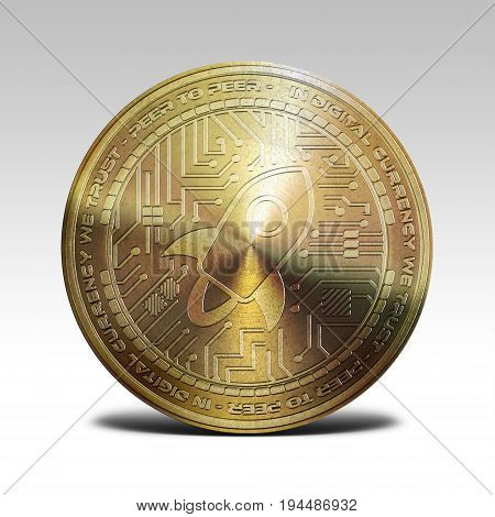 golden stellar lumens coin isolated on white background 3d rendering illustration