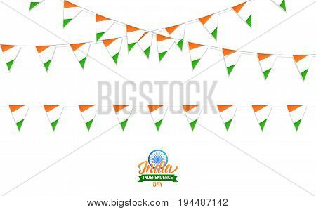Buntings of India flag. Decorations for India Independence Day. Realistic India flag buntings