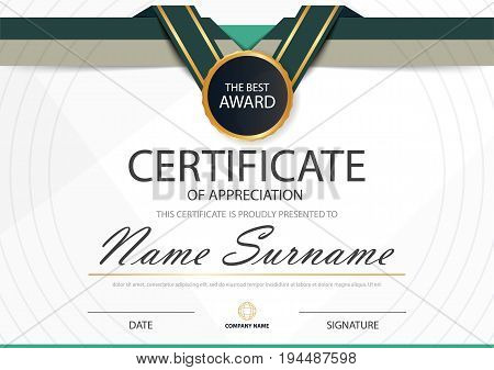 Green label Elegance horizontal certificate with Vector illustration white frame certificate template with clean and modern pattern presentation