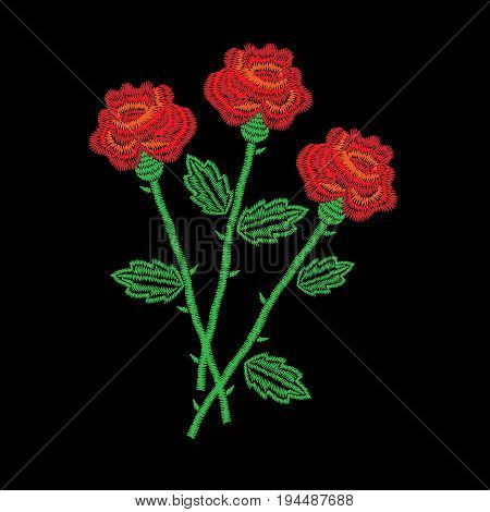 Embroidery stitches imitation three red roses. Fashion embroidery rose flower on black background. Embroidery red roses vector.
