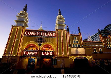 SYDNEY, AUSTRALIA, 26 APRIL 2017 - Sydney's Luna Park at night