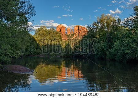 a scenic reflection of cathedral rock near Sedona Arizona