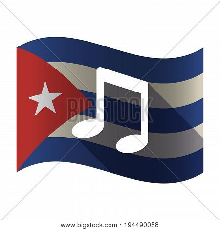 Isolated Cuba Flag With A Note Music