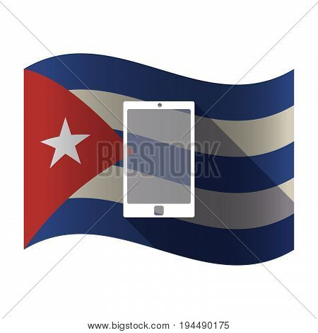 Isolated Cuba Flag With A Smart Phone
