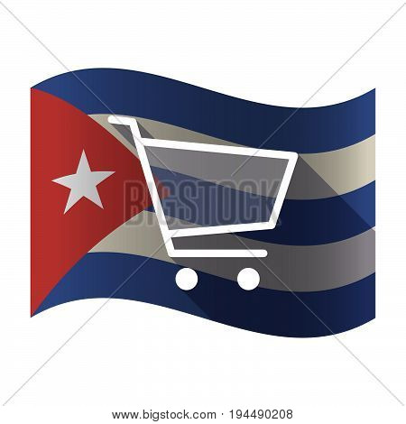 Isolated Cuba Flag With A Shopping Cart