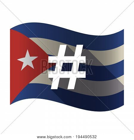 Isolated Cuba Flag With A Hash Tag