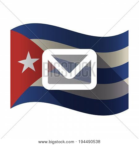 Isolated Cuba Flag With An Envelope