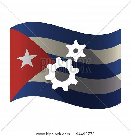 Isolated Cuba Flag With Two Gears