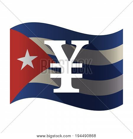 Isolated Cuba Flag With A Yen Sign