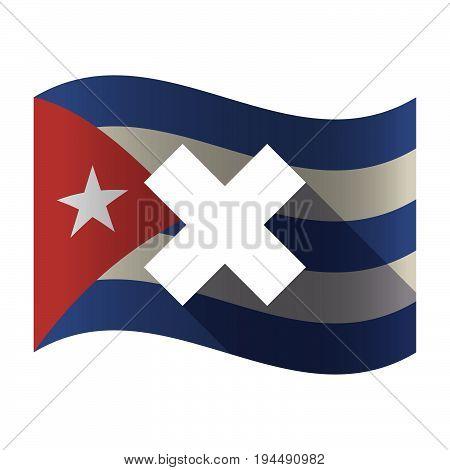 Isolated Cuba Flag With An X Sign