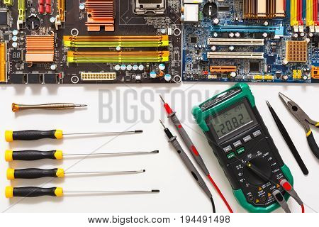 Electronics repair flat lay background. Maintenance support and service concept. Upgrade of computer top view.