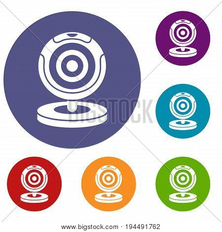 Webcam icons set in flat circle reb, blue and green color for web